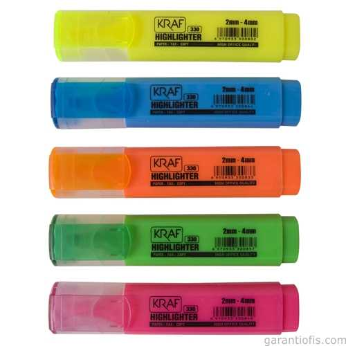 Kraf 330 Turuncu Fosforlu İşaretleme Kalemi (5 li Paket)